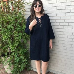 NWOT Eloquii Lace-Up Denim Shift Dress - 18